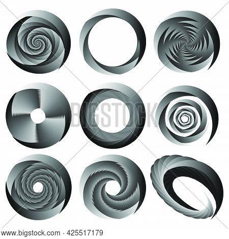 Abstract Spiral, Swirl, Twirl Design Element. Curlicue, Rotating Shape. Volute, Vortex, Helix Elemen