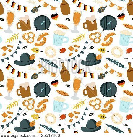 Octoberfest Beer Festival Seamless Pattern On White Background. Hand Drawn Vector Illustration In Do
