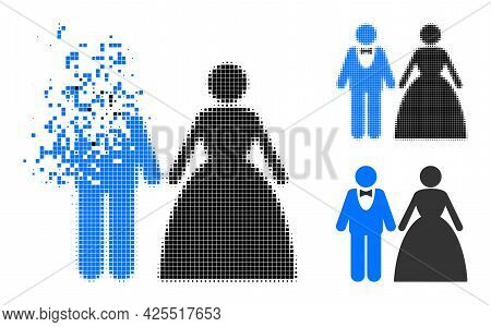 Dissolved Pixelated Groom With Bride Pictogram With Halftone Version. Vector Wind Effect For Groom W