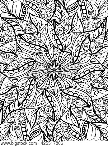 Mandala Adult Coloring Book Page. Zentangle Style Coloring Page.