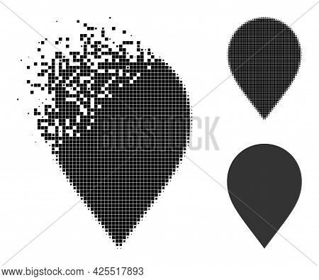 Disintegrating Pixelated Map Marker Icon With Halftone Version. Vector Destruction Effect For Map Ma