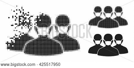 Dispersed Pixelated Mask People Group Icon With Halftone Version. Vector Wind Effect For Mask People