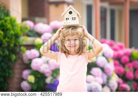 Funny Kid Dream Of A New Home. House Concept.