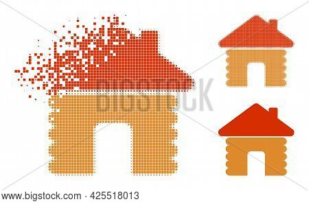 Erosion Pixelated Wooden House Icon With Halftone Version. Vector Wind Effect For Wooden House Icon.