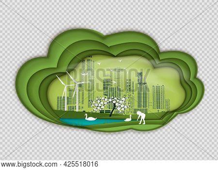 Paper Folding Art Origami Style Vector Illustration. Renewable Energy Ecology Technology Power Savin