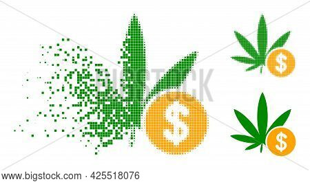 Damaged Pixelated Cannabis Investing Icon With Halftone Version. Vector Wind Effect For Cannabis Inv