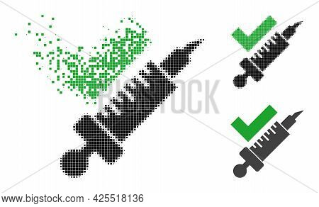 Disintegrating Pixelated Vaccination Pictogram With Halftone Version. Vector Wind Effect For Vaccina