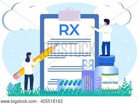 Vector Illustration Of A Doctor's Prescription Pharmacy Control Health Concept Rx. Doctors Write Pre