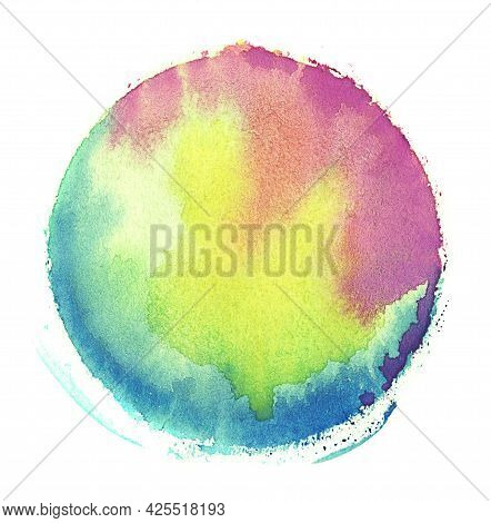 Rainbow Watercolor Round Circle Texture Splash Isolated On White Background With Uneven Edges. Blank
