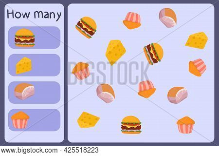 Kids Mathematical Mini Game - Count How Many Foods - Burger, Cheese, Ham, Muffin. Educational Games