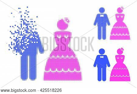 Disintegrating Pixelated Wedding Pair Icon With Halftone Version. Vector Destruction Effect For Wedd