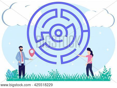 Vector Illustration Of A Map For A Quick Way To A Successful And Effective Solution To A Problem. A
