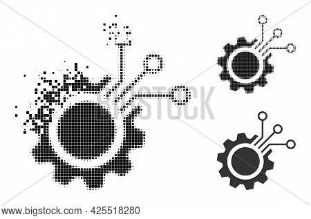 Disappearing Pixelated Electronic Gear Pictogram With Halftone Version. Vector Wind Effect For Elect