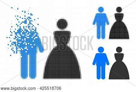 Broken Pixelated Wedding Couple Icon With Halftone Version. Vector Destruction Effect For Wedding Co