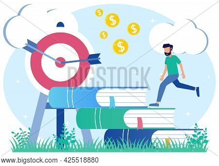 Vector Illustration Of Motivational Or Inspirational Symbol In Business Growth And Development. Impr