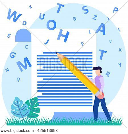 Flat Style Vector Illustration Of Intelligent Man Writer Character With Pen Writing On Paper. Create