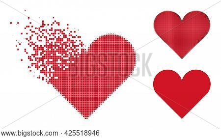 Disappearing Pixelated Playing Card Heart Suit Glyph With Halftone Version. Vector Destruction Effec
