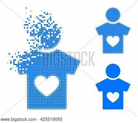 Decomposed Dot Lover Boy Pictogram With Halftone Version. Vector Wind Effect For Lover Boy Pictogram