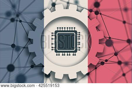 Cpu Microprocessor Icon In Gear And Flag Of France