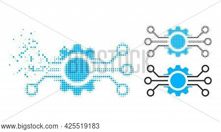 Dispersed Pixelated Gear Circuit Icon With Halftone Version. Vector Destruction Effect For Gear Circ