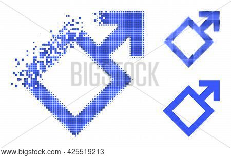 Destructed Pixelated Male Symbol Icon With Halftone Version. Vector Destruction Effect For Male Symb