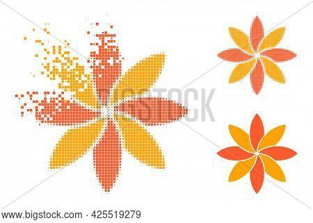Broken Pixelated Flower Glyph With Halftone Version. Vector Wind Effect For Flower Symbol. Pixelated