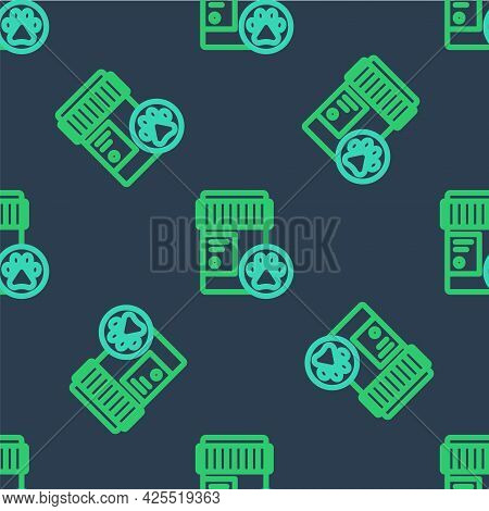 Line Dog Medicine Bottle Icon Isolated Seamless Pattern On Blue Background. Container With Pills. Pr