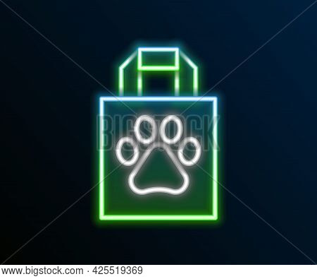 Glowing Neon Line Shopping Bag Pet Icon Isolated On Black Background. Pet Shop Online. Animal Clinic