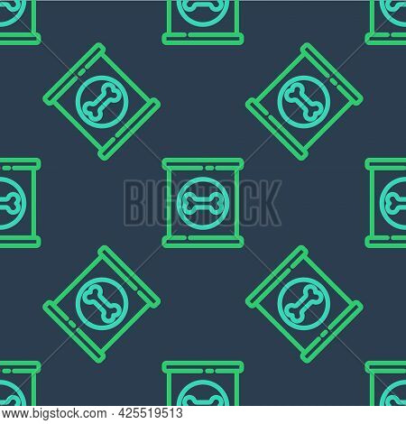 Line Canned Food Icon Isolated Seamless Pattern On Blue Background. Food For Animals. Pet Food Can.