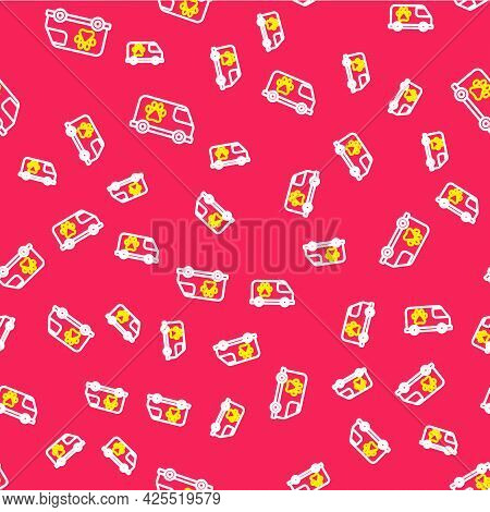 Line Veterinary Ambulance Icon Isolated Seamless Pattern On Red Background. Veterinary Clinic Symbol
