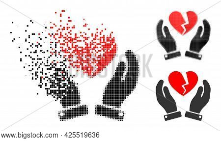 Disappearing Dotted Broken Heart Care Hands Icon With Halftone Version. Vector Wind Effect For Broke