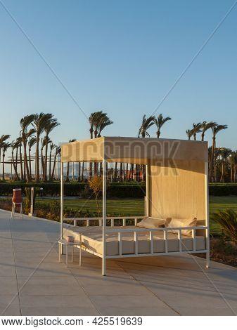 Sharm El Sheikh, Egypt - June 3, 2021: View Of A Sunbed At A Pool Of Hotel Albatros Laguna Vista Res