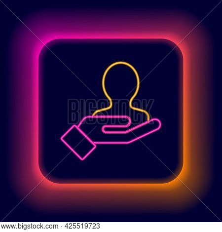 Glowing Neon Line Hand For Search A People Icon Isolated On Black Background. Recruitment Or Selecti