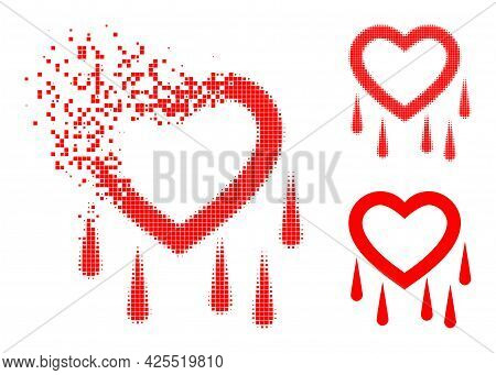Destructed Dot Crying Heart Pictogram With Halftone Version. Vector Wind Effect For Crying Heart Pic
