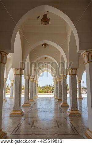 Sharm El Sheikh, Egypt - June 3, 2021: Al-salam Mosque In Sharm El-sheikh In Egypt. Inside View Of A