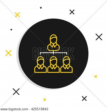Line Business Hierarchy Organogram Chart Infographics Icon Isolated On White Background. Corporate O