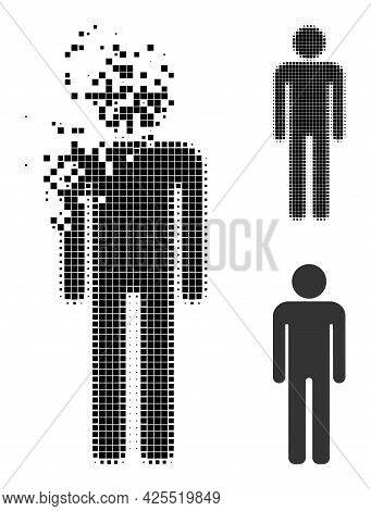 Disintegrating Dot Man Figure Pictogram With Halftone Version. Vector Destruction Effect For Man Fig