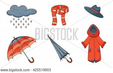 A Set Of Colored Doodles. Outerwear, Raincoat, Umbrella, Scarf, Hat, Cloud, Rain. Autumn Decorative