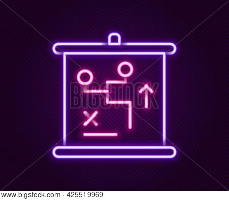Glowing Neon Line Planning Strategy Concept Icon Isolated On Black Background. Cup Formation And Tac