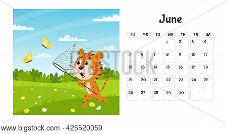 Horizontal Desktop Calendar Page Template For June 2022 With A Cartoon Tiger Symbol Of The Chinese Y