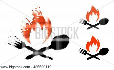 Moving Pixelated Hot Food Icon With Halftone Version. Vector Wind Effect For Hot Food Icon. Pixelate