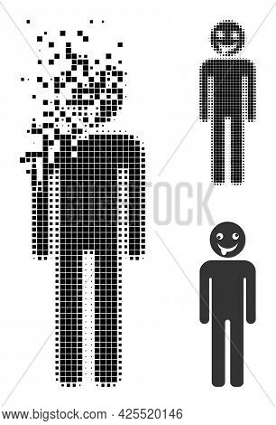 Dust Pixelated Idiot Person Icon With Halftone Version. Vector Destruction Effect For Idiot Person S