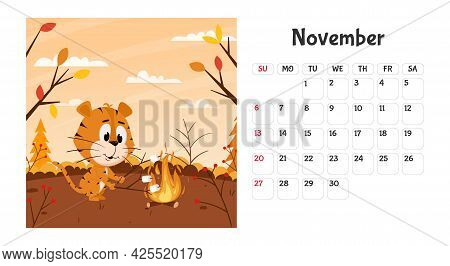Horizontal Desktop Calendar Page Template For November 2022 With A Cartoon Chinese Year Symbol. The