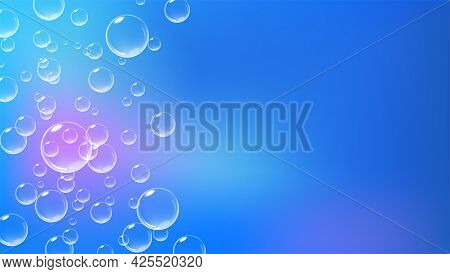Bright Blue Background With Fizzing Bubbles. Fizzy Air Underwater. Vector Realistic Illustration.