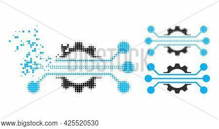 Dispersed Pixelated Hitech Industry Icon With Halftone Version. Vector Wind Effect For Hitech Indust