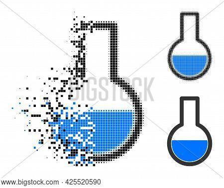 Broken Pixelated Flask Glyph With Halftone Version. Vector Destruction Effect For Flask Pictogram. P
