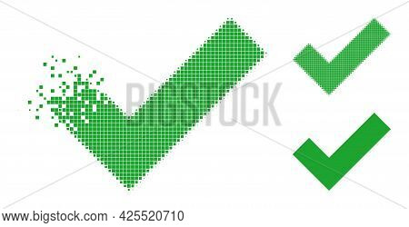 Decomposed Dot Apply Tick Icon With Halftone Version. Vector Destruction Effect For Apply Tick Icon.