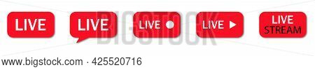 Live Streaming Icons. Online Channel, Live Event Icons Isolated White Background