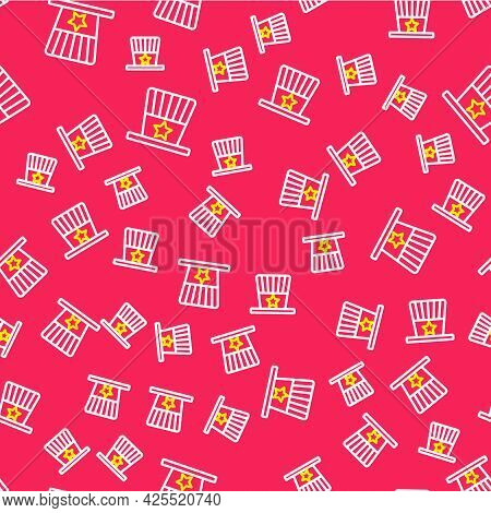 Line Patriotic American Top Hat Icon Isolated Seamless Pattern On Red Background. Uncle Sam Hat. Ame