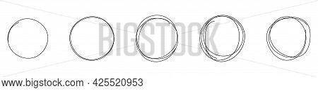 Set Of Round Hand Drawn Doodle Frames. Vector Circular Scribble Doodle Round Circles For Message Not